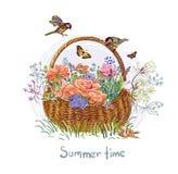 Summer vector paint style design flower colorful basket stock illustration