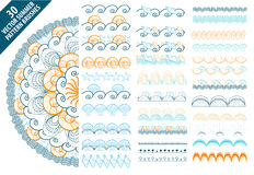 Summer vector pattern brushes with hand drawn colorful seashells and waves Stock Photos
