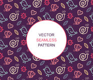 Summer vector seamless pattern with bird, ladybug, butterfly, snail, heart and leaf with place for text. Stock Photos