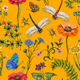 Summer vector seamless pattern. Botanical wallpaper. Plants, insects, flowers in vintage style. Butterflies, dragonflies. Beetles and plants in the style of royalty free illustration