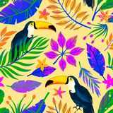 Summer vector seamless pattern with hand drawn tropical leaves,toucans and flowers. Multicolor plants.Exotic background perfect for prints,wrapping paper,t vector illustration