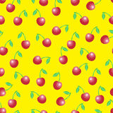 Summer vector seamless pattern with red cherries Royalty Free Stock Photos