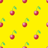 Summer vector seamless pattern with red cherries on the yellow bbackground. Stock Photography