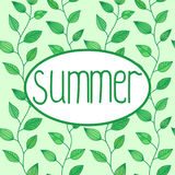 Summer vector sign in oval frame with leaves background, decoration for banners Stock Image