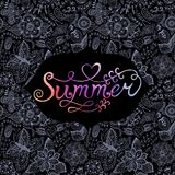 Summer vector watercolor lettering. Hand drawn watercolor back Stock Photos