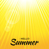 Summer vector yellow glow background with sun rays and bubbles. Sunlight orange backdrop. Lettering Hello Summer. Summer template vector yellow glow background Royalty Free Stock Photos