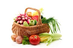 Summer vegetables in basket. Stock Photos