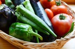 Summer vegetables in a basket Stock Images