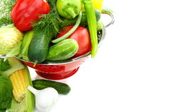 Summer vegetables and greens in a colander. Stock Images