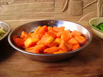 Summer vegetarian papaya salad Stock Photos