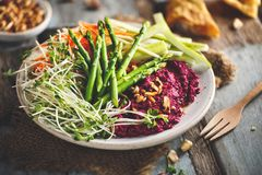 Summer Vegetarian Salad with Beetroots Hummus, Green Asparagus, Carrots, Cucumber and Germinated Seeds. Summer Salad with Beetroots Hummus, Green Asparagus stock photos