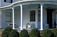 Summer veranda. Classic curved veranda on a stately old home Stock Images
