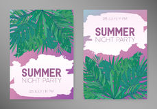 Summer vertical backgrounds with tropical leaves, monstera, chamaedorea and other palms. Template for placard, poster Royalty Free Stock Image