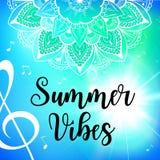 Summer vibes card with mandala. Vector illustration Royalty Free Stock Photos