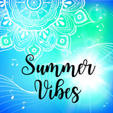 Summer vibes card with mandala. Vector illustration Stock Images