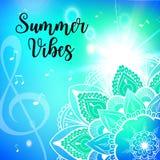 Summer vibes card with mandala. Vector illustration Royalty Free Stock Image