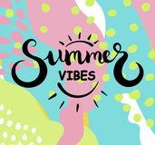 Summer vibes text. Brush calligraphy. Vector illustration. Summer vibes text. Brush calligraphy. Vector illustration Royalty Free Stock Image