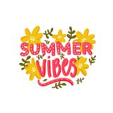 Summer vibes text and hand drawn yellow flowers. Hand lettering caption for cards, printes tee, inspirational posters Royalty Free Stock Photography