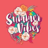 Summer vibes typography banner round design in tropical flower frame Stock Images