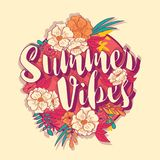 Summer vibes typography banner round design in tropical flower frame Royalty Free Stock Photo