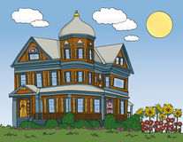 Summer Victorian House. Victorian house in traditional colors. Hand drawn in a loose style Royalty Free Stock Photo