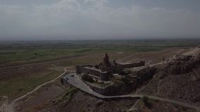 Aerial video in Armenia, ancient temple on the background of Mount Ararat stock video