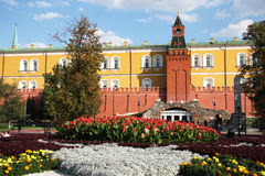 Summer view of Alexander Garden and Moscow Kremlin Stock Photo