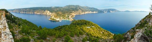 Summer view of Assos peninsula (Greece,  Kefalonia). Panorama. Stock Photography