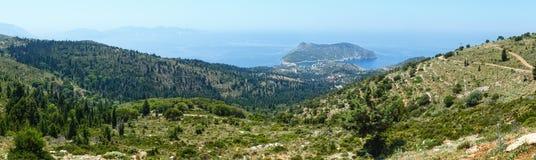 Summer view of Assos peninsula (Greece,  Kefalonia). Panorama. Stock Photos