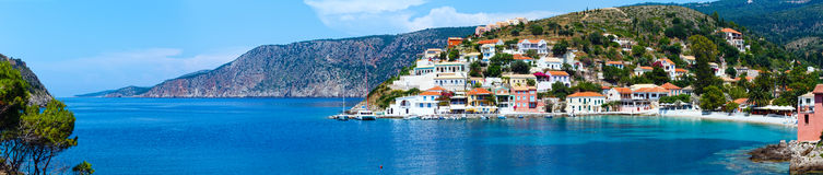 Summer view of Assos village (Greece,  Kefalonia). Panorama. Stock Image