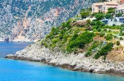 Summer view of Assos village (Greece,  Kefalonia). Royalty Free Stock Photos