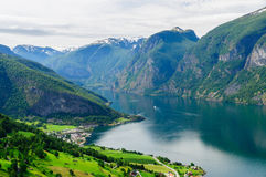 Summer view at Aurland town on the shore fjord Stock Photos