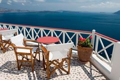 Summer view from the balcony. Beautiful view from balcony on the Santorini island royalty free stock image