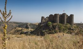 View of the beautiful medieval fortress Amberd in Armenia. Summer view of the beautiful medieval fortress Amberd in Armenia Royalty Free Stock Images