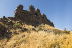 View of the beautiful medieval fortress Amberd in Armenia Royalty Free Stock Images