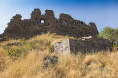 View of the beautiful medieval fortress Amberd in Armenia Stock Photography