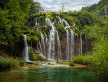 Summer view of beautiful waterfalls in Plitvice Lakes National Park Royalty Free Stock Photos