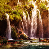 Summer view of beautiful waterfalls in Plitvice Lakes National Park Stock Photos