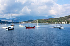 Summer view of boats and yachts in Poros, Greece Royalty Free Stock Image