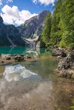Summer view of Braies lake in Alto Adige, Italy. Europe stock photo
