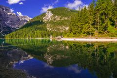 Summer view of Braies paradise lake in Trentino Alto - Adige stock image