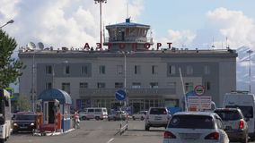 Summer view of building airport terminal Petropavlovsk-Kamchatsky City stock video footage