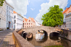 Summer view of the canal and small bridge, Bruges Royalty Free Stock Photography