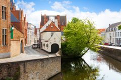 Summer view of the canal and street in Bruges Stock Photo