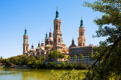 Summer view of of Cathedral in Zaragoza Royalty Free Stock Images