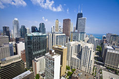 Summer view of Chicago skyscrapers. Royalty Free Stock Photography