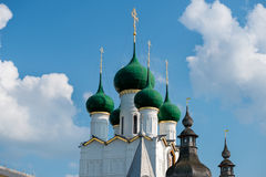 Summer view of the Church of St. John the theologian. Of the medieval Kremlin in Rostov the Great as part of The Golden Ring`s group of medieval towns of the Stock Photos