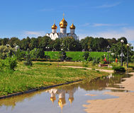 Summer view of the city park and cathedral of Yaroslavl Stock Image