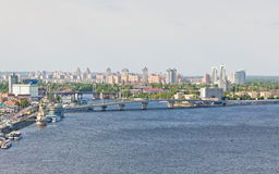 Summer view of Dnipro river in Kyiv, Ukraine Royalty Free Stock Images