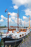 Summer view of the Dutch Hindeloopen harbor Stock Image
